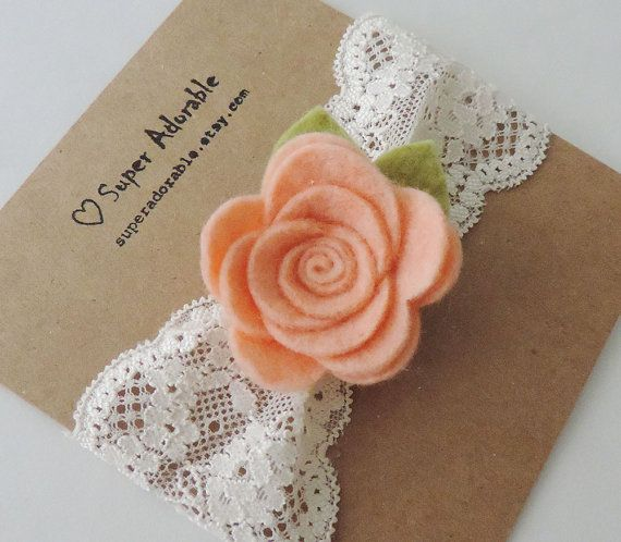 Lace Headband in Peach - Baby Girl Headband, Newborn Headbands This flower is so sweet and delicate made soft wool blend felt. They come