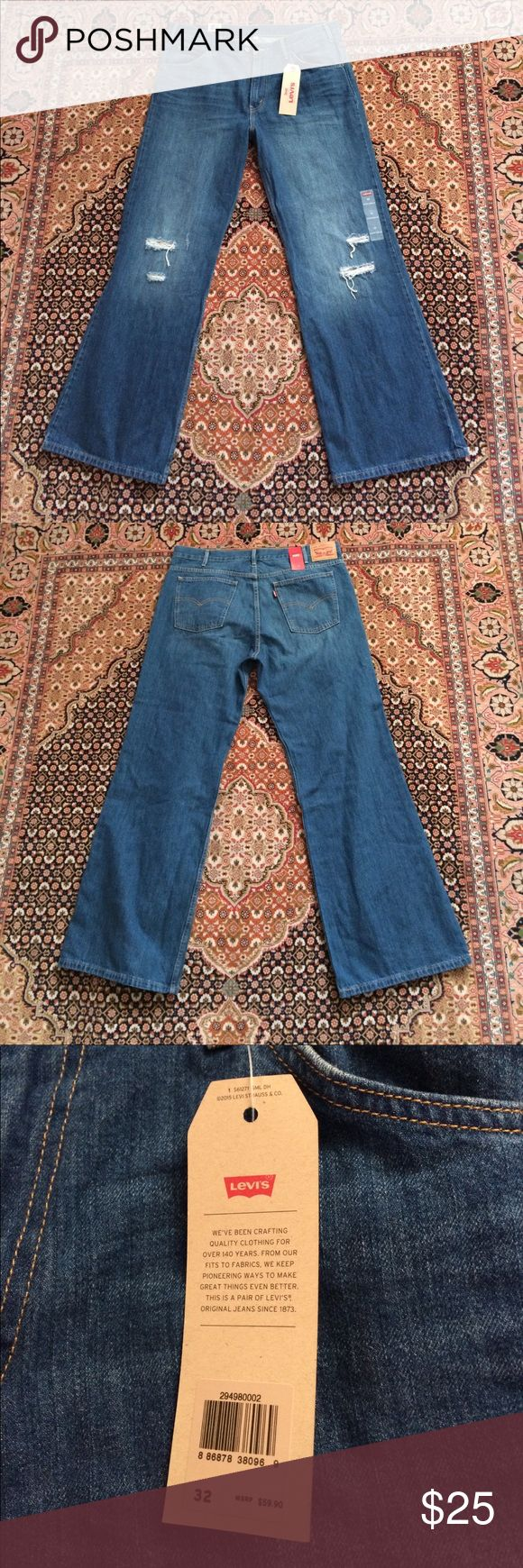 NWT Levi's Vintage Wide Leg Women's Jeans SZ 32 👖 NWT super cute Levi's jeans. Wide leg with holes in the knees. SZ 32 Levi's Jeans Flare & Wide Leg