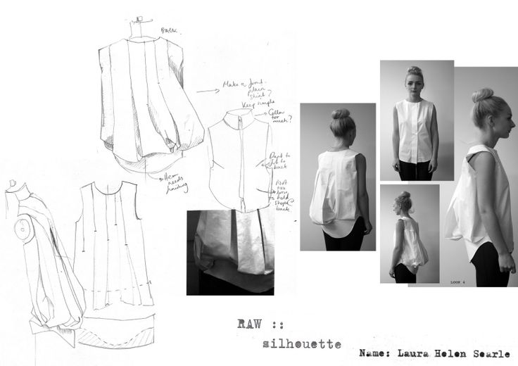 Fashion Sketchbook - white shirt manipulation with experimental draping; fashion design sketches & development // Laura Helen Searle