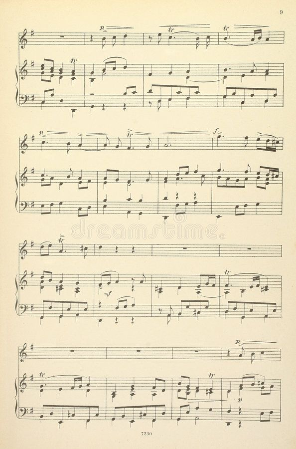 Old Musical Score No Lyrics Old Yellowed Sheet Music For Piano
