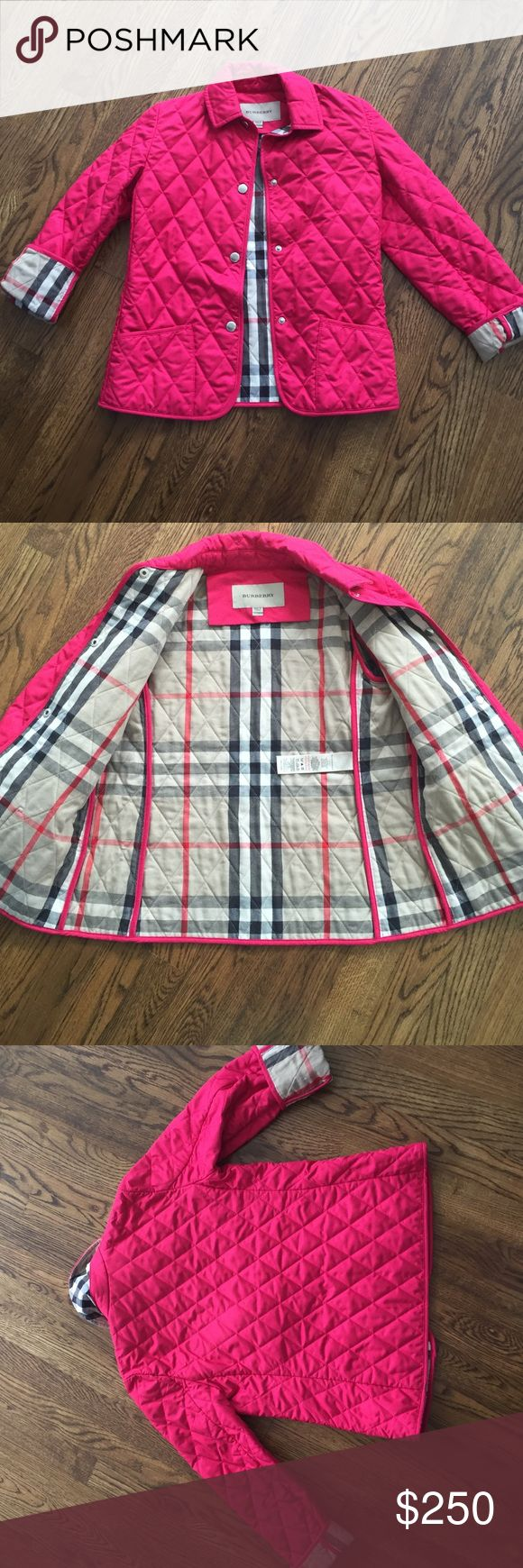Authentic Burberry Quilted Jacket Authentic Burberry Quilted Jacket, lined with Burberry Print. Sleeves that Roll up to display Burberry Print at Cuff. Like New only worn a few times Burberry Jackets & Coats