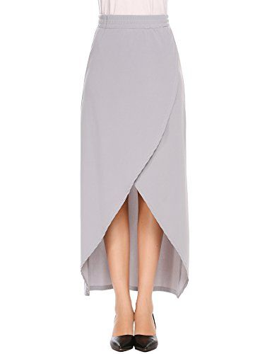 c2664bf4bf SHINE Womens Elastic Waist Front Split High Low ALine Maxi Skirt M Grey ***