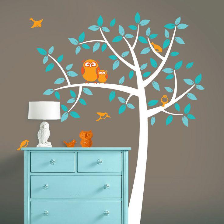 Owl Nursery Tree - Mommy and Baby Owls Art - Nursery Vinyl Wall Decals. $72.00, via Etsy.