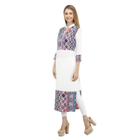 LadyIndia.com # Cotton Kurti, Designer Cotton White Multicolor Kurti For Women, Kurtis, Kurtas, Cotton Kurti, https://ladyindia.com/collections/ethnic-wear/products/designer-cotton-white-multicolor-kurti-for-women