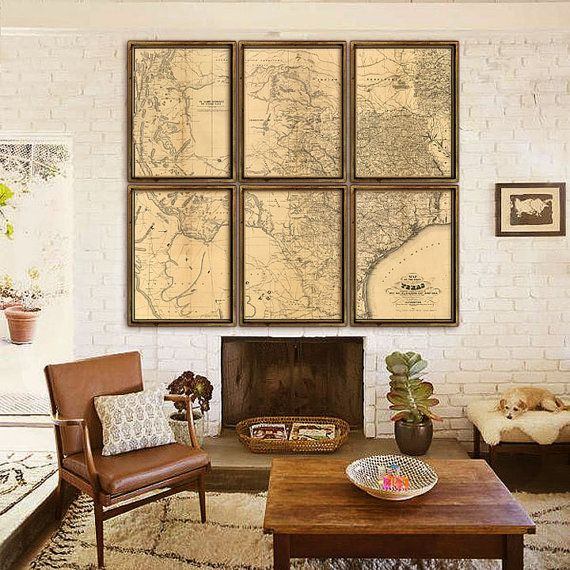 ⚓ Amazingly large and very rare map of Texas, originally published in 1867. One of the first detailed maps of the state.  ⚓ Hand-drawn on 6 sheets by