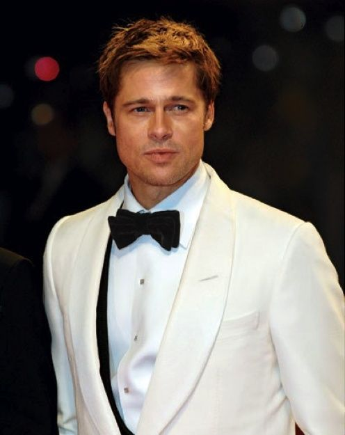 Brad Pitt. love the hint of black under the white jacket