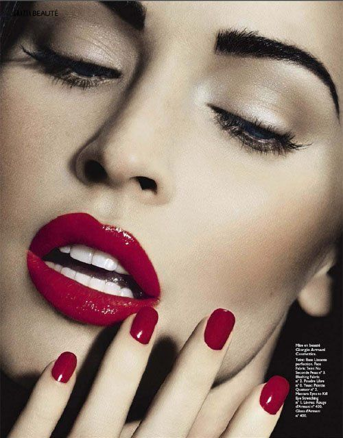 megan fox-red. Wow, this is the perfect red lipstick color for me. Wish I could find it! I had Christian Dior Rouge de Fete, but that was discontinued:-(.