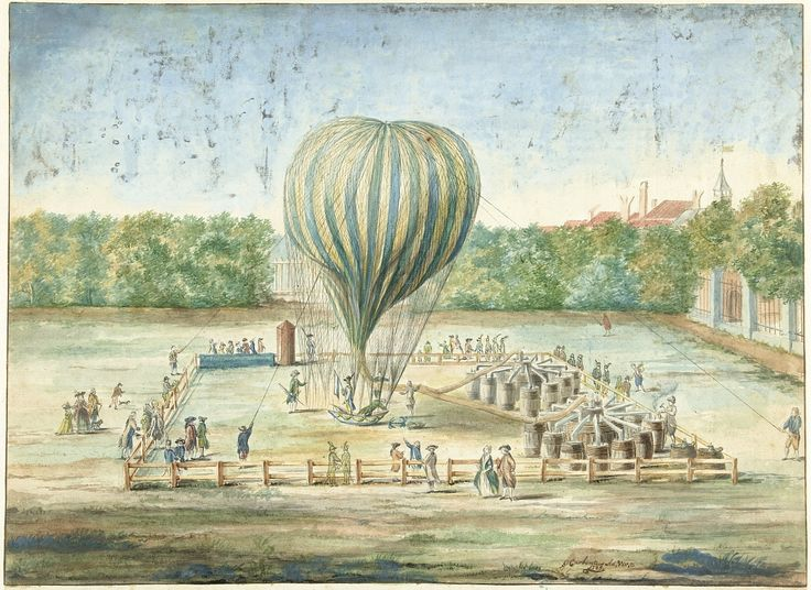 The Launch of Jean-Pierre Blanchard's Balloon at The Hague in the gardens of Noordeinde Palace which landed at Zevenhuizen village, 1785. Watercolour, ink and pencil on paper, by G. Carbentus, 1785