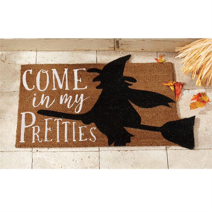 Halloween Witch Coir Doormat Halloween | Pumpkins | Pumpkin | Witches | Witch | Witches Broom | Spooky | Decorating for Halloween | Halloween Decor | Welcome Mat | Mat for Front Door