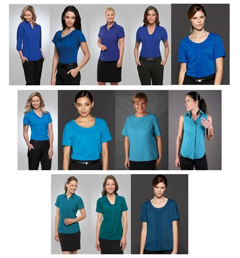 Ladies' shirting options in blue, aqua, and green