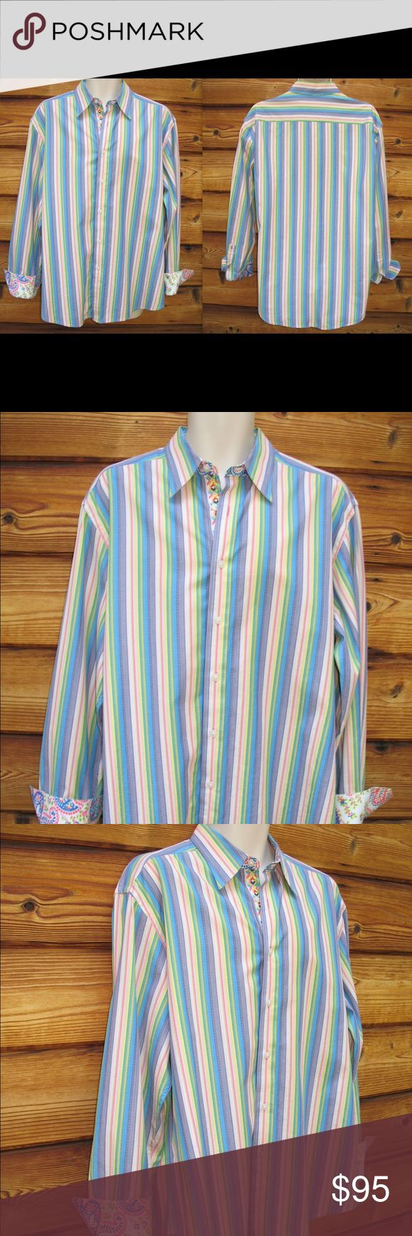 "Men's Robert Graham Flip Cuff Geometric Shirt Men's Robert Graham Flip Cuff Geometric Print Shirt, Size X-Large  *Excellent condition.  Details: Robert Graham Size: X-Large Color: Multi Embroidered down front closure Contrast print fabric on the collar and cuff 100% Cotton Machine Wash  Measurements: Length: 30"" Chest: 50"" Waist: 48"" Robert Graham Shirts Casual Button Down Shirts"