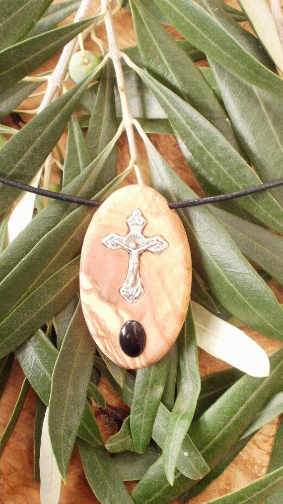 Hand carved Greek Olive Wood necklace inlaid by ellenisworkshop, $39.00
