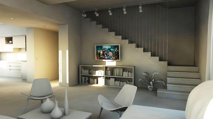 bram | openspace - soggiorno con vista su cavi in acciaio della scala