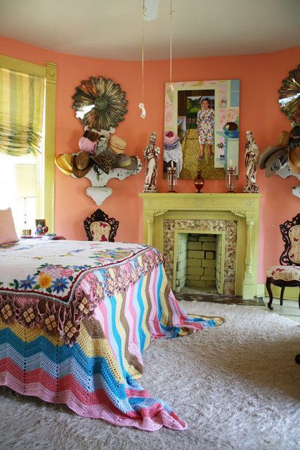 An artist's bold and colorful house in Austin. There isn't anything that I don't like about this house.  House tour at www.apartmentther..I loved every crazy fun room.