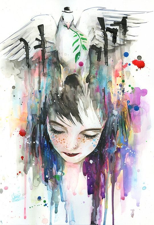 Watercolor Art by Lora-Zombie I really really REALLY like her artwork.