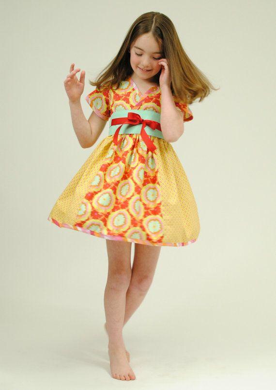 Girl's Kimono Dress, Valentine's Day, Girl Dresses, Toddler, Child, Red, Girls Clothing, Sizes 2T 3T 4T 5 6 7 8