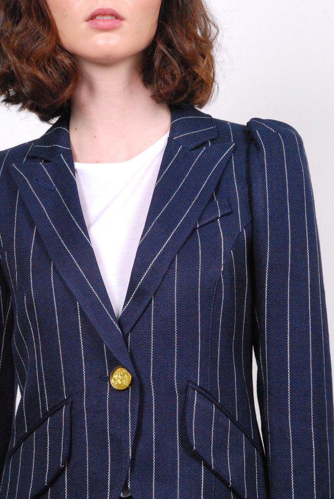 Smythe Pouf Sleeve One Button Blazer- Pinstripe