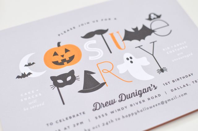 Halloween First Birthday Costume Party Invitations by Lauren Chism Fine Papers / Oh So Beautiful Paper