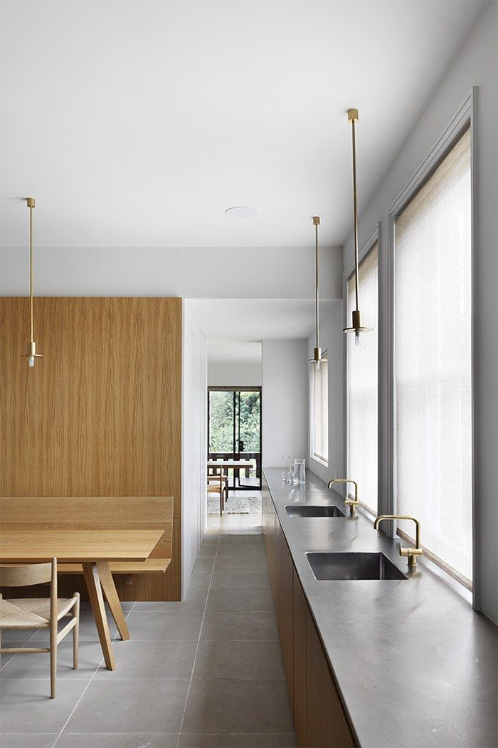 VOLA Taps in brass for kitchen Work | William Smalley Architect