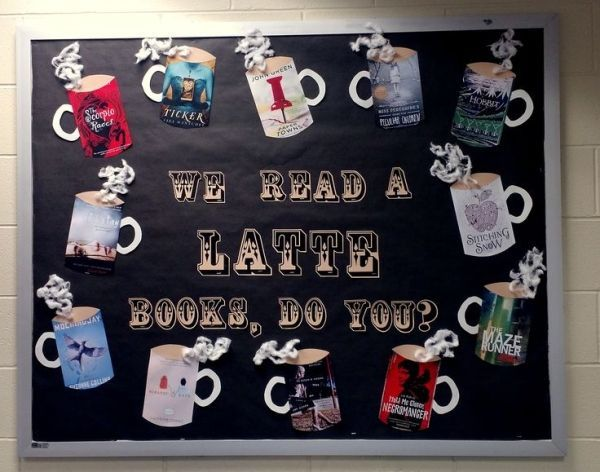 "Winter bulletin board display- ""We Read a Latte Books, Do You?"" From the Clermont County Public Library by elsa"