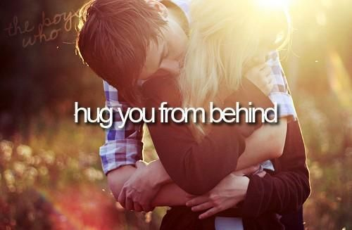 Who ever comes later home from work, hugs the other from behind. There can not be too much of hugging, ever.