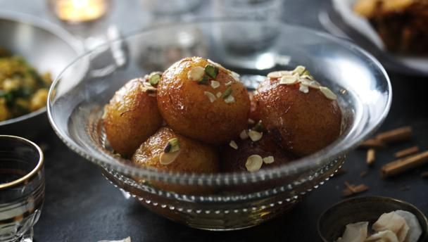 Gulab jamun |      These sticky-sweet deep-fried dough balls aren't for those on a diet, but are an authentic Indian sweet.