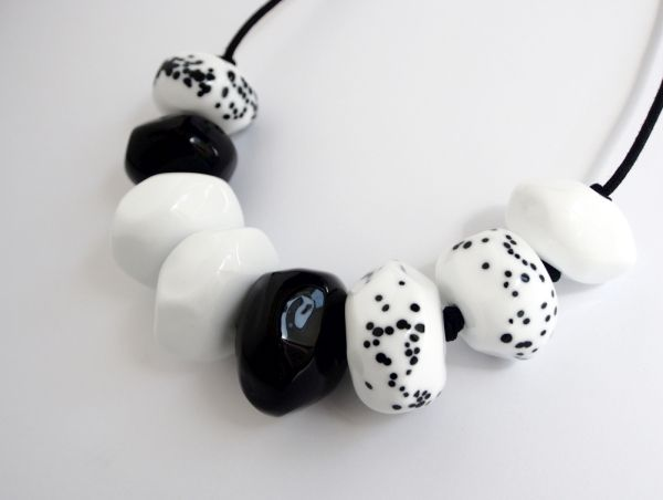 Avril Bowie - Black & White glass necklace - all hand crafted glass work www.avrilbowie.com