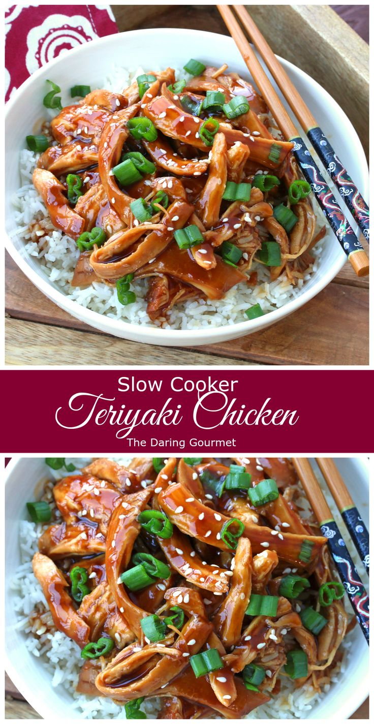 Slow Cooker Teriyaki Chicken.  Fast, easy, delicious!  daringgourmet.com