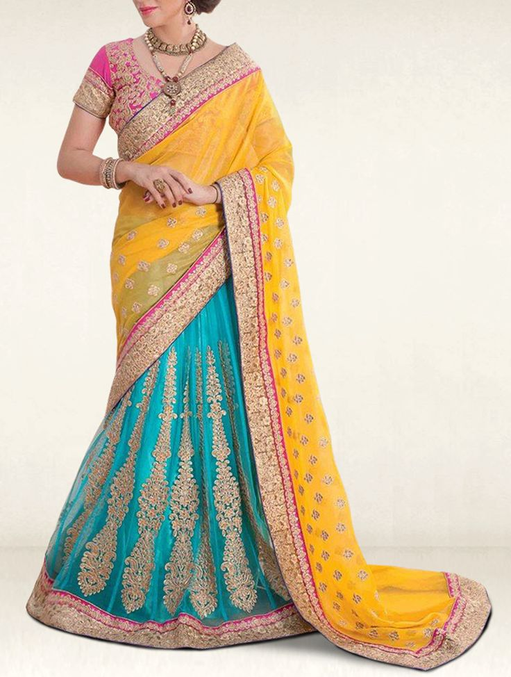 Beautiful Turquoise & Yellow Embroidered Designer Lehenga Style Saree.