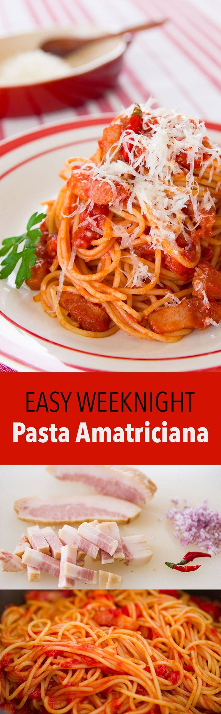 Easy delicious recipe for Sugo all'Amatriciana, a simple sauce from Amatrice made with guanciale, tomatoes and pecorino cheese.