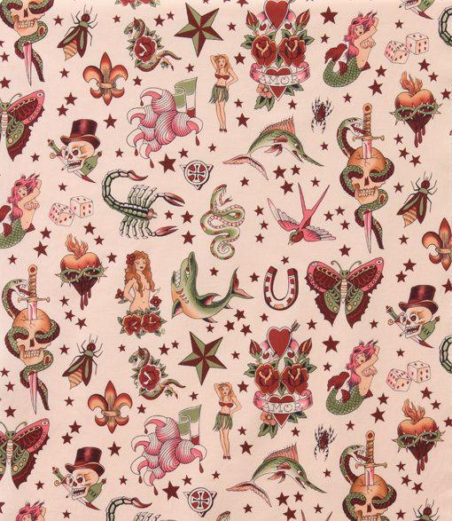 Alexander Henry 'Tattoo' Fabric Pink 1 Yard by SpoonfulsOfLoveLLC, $11.00