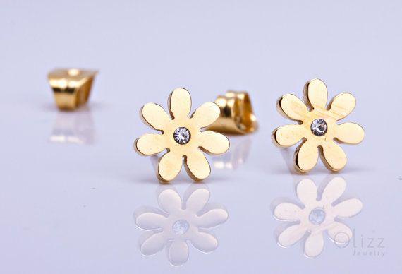 Gold Flower stud earrings tiny flower studs silver by OlizzJewelry