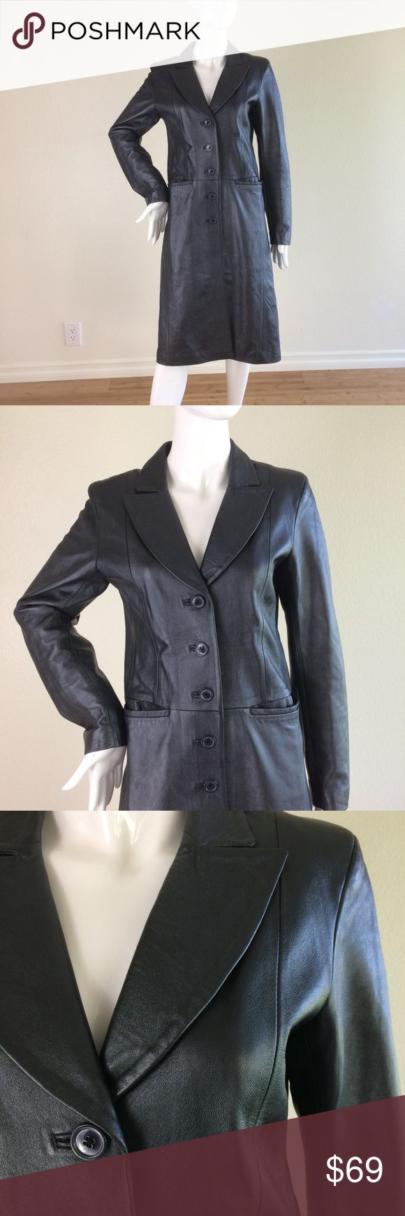 Oasis Leather trench coat - size 8 NWOT silver trench coat. Leather. Single breasted. 2 front pockets. Minor defect (slight tear on inside lining. Shown in picture. Hardly noticeable). Otherwise in absolutely fantastic condition.   Waist: 30 in. Underarm-to-underarm 36 in. Length 44 in. Oasis Jackets & Coats Trench Coats