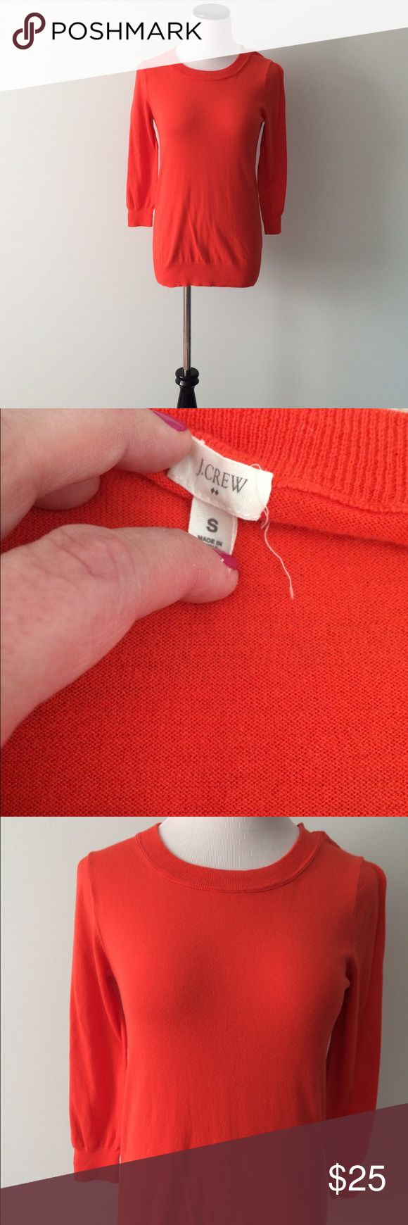 J. CREW Orange cotton Sweater Gently worn, orange cotton sweater 3/4 sleeves. J. Crew Sweaters Crew & Scoop Necks