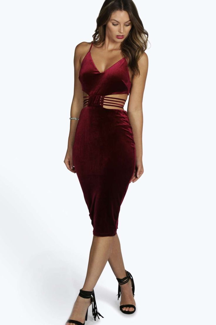 Bandage bodycon dresses 0 celebrities 1639 get lucky extra 50 0 - Boutique Eve Velvet Midi Bodycon Dress At Boohoo Com