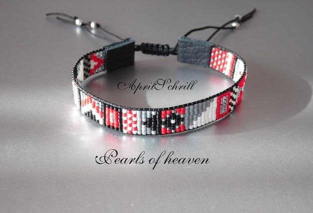 Bead Loom schwarz weiß rot grau