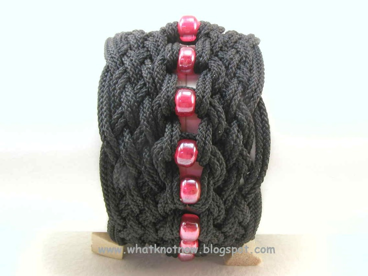 Turks head knot bracelets and contemporary fiber bracelets: star knot bracelet with beads 1864
