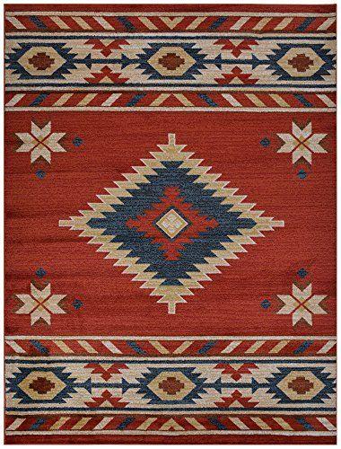 "Nevita Collection Southwestern Native American Design Area Rug Rugs Geometric (Orange (Terra) Blue Beige Red, 5'3"" x 7'1""), http://www.amazon.com/dp/B0103KTOPS/ref=cm_sw_r_pi_awdm_LwBFwbGWRSN3H"