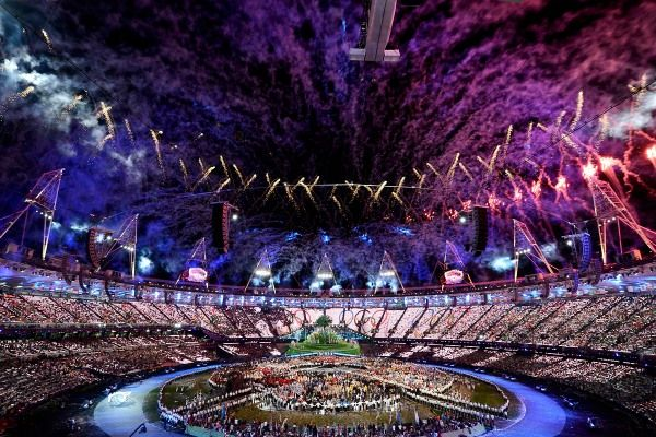 Fireworks at the London 2012 Olympics opening ceremony.... wish I could've been there!