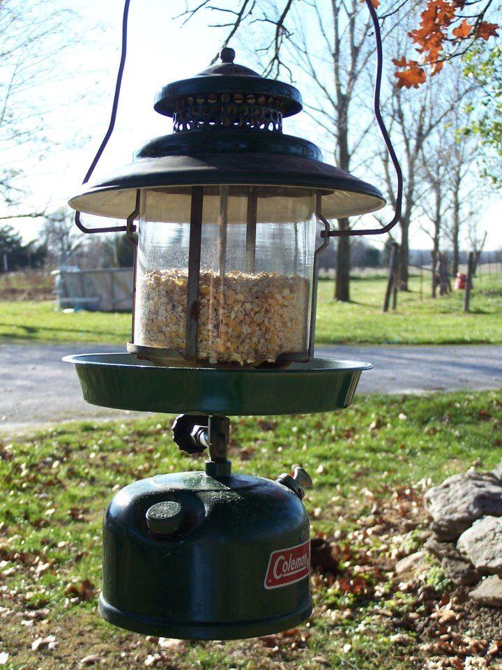 Bird Feeder made from an old Coleman Lantern