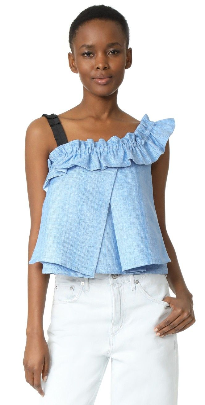 ONE by UnitedWood Tao Cropped Asymmetrical Ruffled Top | SHOPBOP
