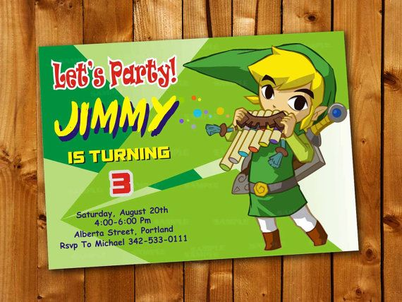 248 best birthday invitation images on pinterest birthday zelda green colorful birthday invitation for little boy by point71 stopboris Gallery