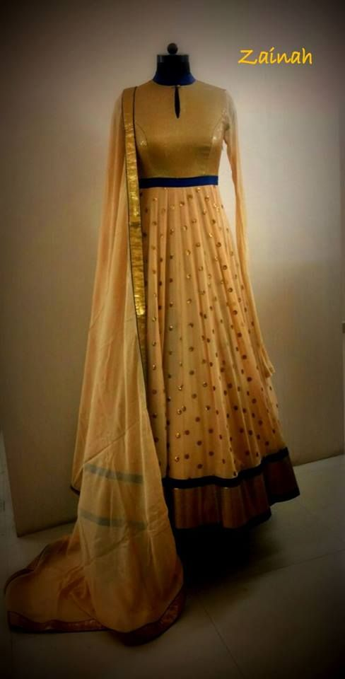 Beige Anarkali with a touch of navy blue from Zainah by Pooja Khokha Arora