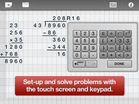 ModMath ($0 00) lets you type math problems right onto the touch