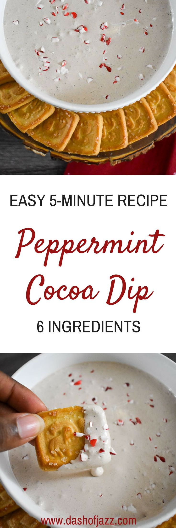 An easy, six-ingredient peppermint cocoa dip recipe perfect for the holidays! Recipe by Dash of Jazz #MyItalianMoment #ad #appetizer #ChristmasRecipe via @dashofjazzblog