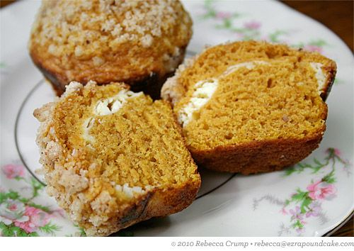 pumpkin and cream cheese muffins w pecan streusel