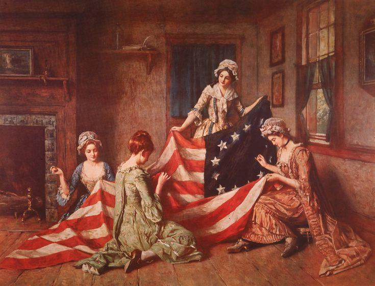 Henry Mosler painting, called The Birth of the Flag, shows Betsy Ross and her assistants sewing the first American flag in Philadelphia, Pennsylvania, in 1777.
