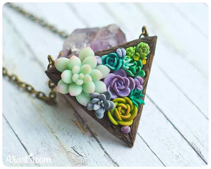 Succulent necklace  - Polymer clay necklace - Wooden necklace with succulents - Succulent jewelry - Pendant with succulents -Florarium by ViartRoom on Etsy https://www.etsy.com/listing/460296114/succulent-necklace-polymer-clay-necklace