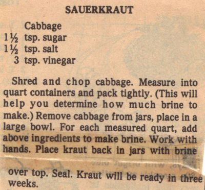 sauerkraut+canning+recipes | Cooks.com - Recipes - Canning Sauerkraut