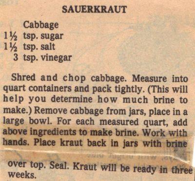 sauerkraut+canning+recipes | Cooks.com - Recipes - Canning Sauerkraut